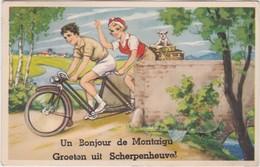 SCHERPENHEUVEL-MONTAIGU-GROETEN UIT-LEPORELLOKAART-MET 10 ZICHTJES-FIETS-TANDEM-VERSTUURD-1957-ZIE DE 3 SCANS-RARE ! ! ! - Scherpenheuvel-Zichem