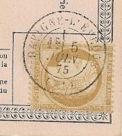 Type 17 SAVIGNE L'EVEQUE Sarthe JUIN 1875 Pour Sillé Le Guillaume. - Marcophilie (Lettres)