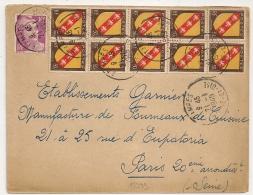 TARIF 15F, Bel Affranchissement Composé BLOC De DIX, ETAMPES Seine Et Oise. Quincaillerie J. COUTANT. - Poststempel (Briefe)