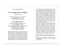P 580. E.P. LUYPAERT - Minderbr. - Oud-Chinamissionaris/Oud-leraar E N Aalmoezenier UKKEL -°OPWIJK 1904 / +MECHELEN 1989 - Images Religieuses
