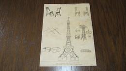 EXPOSITION DE 1889 - LES TRANSFORMATIONS DE LA TOUR EIFFEL Par CARAN D'ACHE - GRAVURE ISSUE DES ANNALES - 1889 - Prints & Engravings