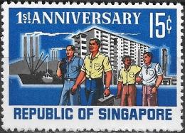 SINGAPORE 1966 1st Anniv Of Republic - 15c Workers MNH - Singapore (1959-...)