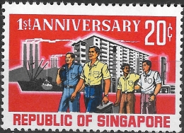 SINGAPORE 1966 1st Anniv Of Republic - 20c Workers MNH - Singapore (1959-...)
