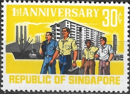 SINGAPORE 1966 1st Anniv Of Republic - 30c Workers MNH - Singapore (1959-...)