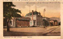 ALLEMAGNE. CPA. NEUSTADT An Der Haardt. Bahnhof; Gare. 1922. - Neustadt (Weinstr.)
