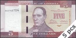 TWN - LIBERIA 31 - 5 Dollars 2016 DEALERS LOT X 5 - Prefix AA UNC - Liberia