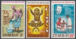 Zambia 1970 - Medical Care, Preventive Medicine: Clean Water, Nutrition, Immunisation - Mi 62-64 ** MNH - Zambia (1965-...)