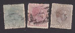 Cuba, Scott #100-102, Used, King Alfonso XII, Issued 1882 - Kuba (1874-1898)