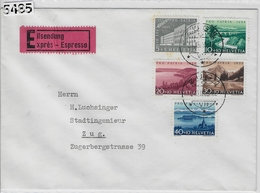 1955 Pro Patria B71-B75/613-617 Expres Zug 31.XII.55 - Briefe U. Dokumente