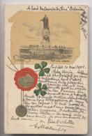 """PORT SAID - 1901 - Ferdinand  Lesseps - CPA écrite à Bord Du Courrier De Chine """" Océanien """" - Port-Saïd"""