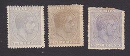 Cuba, Scott #97, 122, 124, Mint Hinged, King Alfonso XII, Issued 1881-83 - Cuba (1874-1898)