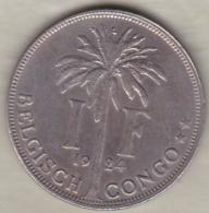 CONGO BELGE , 1 Franc 1924 , Légende Flamande .Albert I - Congo (Belge) & Ruanda-Urundi