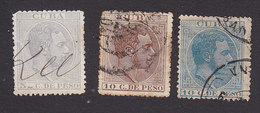 Cuba, Scott #125, 127, 130, Used, King Alfonso XII, Issued 1883-88 - Cuba (1874-1898)