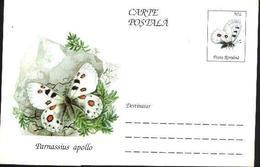 Papillon - PARNASSIUS APOLLO   Entier Postal ( Carte Postale). RARE  Roumanie / Romania 1995 - Papillons