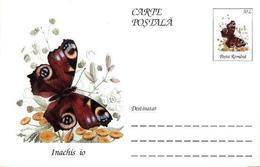 Papillon - INACHIS IO   Entier Postal ( Carte Postale). RARE  Roumanie / Romania 1995 - Papillons