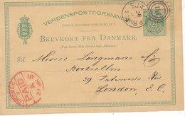 Cachet Rouge London PAID Sur Entier Postal De 1881 Pour Londres,repiqué C.D.Reitzel,Kjobenhavn, 2 Scans - 1864-04 (Christian IX)