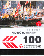 HONG KONG - Decorations For Tin Hau Festival, Hong Kong Telecom Telecard $100, Tirage 22000, 02/90, Used - Hong Kong