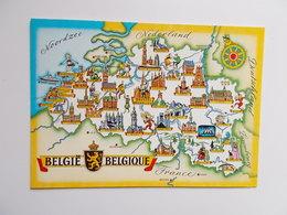 België , Belgique , Landkaart Met Voornaamste Steden - Non Classés