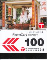 HONG KONG - 10.000 Buddhas Temple At Shatin, Hong Kong Telecom Telecard $100, Tirage 22000, 02/90, Used - Hong Kong