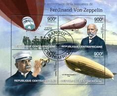 Zentralafrika / Centrafricaine Block   175. Geburtstag Zeppelin  Luftschiffe  2013  O - Zeppelin