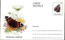 Papillon - EUVANESSA ATALANTA   Entier Postal ( Carte Postale). RARE  Roumanie / Romania 1995 - Papillons