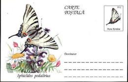Papillon - IPHICLIDES PODALIRIUS   Entier Postal ( Carte Postale). RARE  Roumanie / Romania 1995 - Papillons