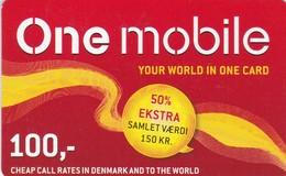 Denmark, DK-ONE-REF-?, 100 Kr. One Mobile, 2 Scans.  Exp : 2015-12-31 - Denmark