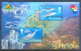 K100- St. Helena 2001 Dolphins HONG KONG 91 Philatelic Exhibition Marine Life. - Philatelic Exhibitions