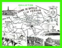 MILITARIA - CHAMPS DE BATAILLES DE VERDUN 1916 ( 55 ) - 7 MULTIVUES - CARTE GÉOGRAPHIQUE - COMBIER IMP. MACON - - Monuments Aux Morts
