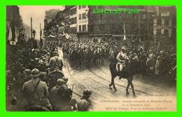 STRASBOURG (67) - ENTRÉE DU MARÉCHAL PÉTAIN, 1918 - DÉFILÉ DES TROUPES, PONT DU FAUBOURG NATIONAL - DOS VERT - BERGERET - Strasbourg