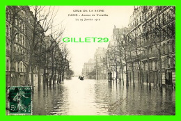INONDATIONS  DE PARIS, JANVIER 1910 - AVENUE DE VERSAILLES  - LL. - CIRCULÉE - - Inondations