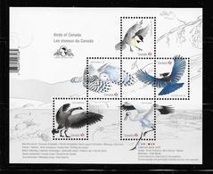 Canada  2018, SS With Imprint, Birds Whooping Crane, Steller's Jay, Snowy Owl, Black-capped Chickadee, Canada Goose - Blocs-feuillets
