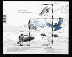 Canada  2018, SS, Birds Whooping Crane, Steller's Jay, Snowy Owl, Black-capped Chickadee, Canada Goose - Blocs-feuillets