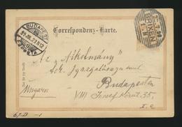 CORRESPONDENZ -KARTE Österreich EMPIRE 1899  Autriche  Brixen 22.7.1899 Pour Budapest - Briefe U. Dokumente