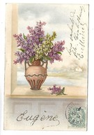 PRENOM - EUGENE - Bouquet De Fleurs, Lilas - Carte Pailletée - Prénoms