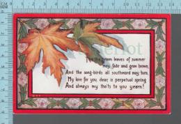 "CPA, ED: Sweetheart :Series AC, ""Arthur Capper 1909, Leaves, Poem - Saint-Valentin"