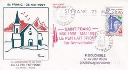 FRANCE -  LETTRE SAINT FRANC MAI 1990 MAI 1991 LE PEN FAIT FRONT 1er ANNIVERSAIRE 27.5.1991 LES ECHELLES SAVOIE   / R270 - Postmark Collection (Covers)