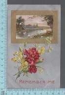 CPA, Métalisé Or Et Argent, Fleurs Embossées, Gaufré, Remember Me, Made In Germany - Cartes Postales