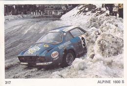 IMAGE 5 X 7,5  Sport Automobile Rallye Des Neiges Et Des Glaces ALPINE 1600 S - Old Paper