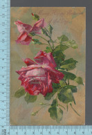 CPA, Many Happy Return Of The Day, Roses, Metalisé, Made In Germany - Fêtes - Voeux