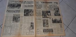 L HUMANITE  OCTOBRE  1963 GAGARINE  A RECU HIER LES FLEURS  DES ENFANTS D IVRY - Journaux - Quotidiens