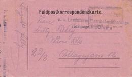 """Feldpostkorrespondenzkarte - K.k. Landsturm Eisenbahnsicherungs Kompagnie """"Opcina"""" - 1917 (36062) - 1850-1918 Imperium"""