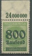 Deutsches Reich 1923 Freim. Mit Aufdruck Platte Oberrand 307 A P OR Postfrisch - Ungebraucht