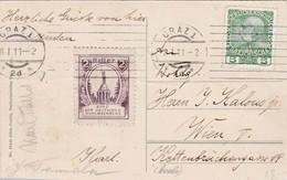 Bund Der Deutschen Nordmährens. Mitgestempelte Spendevignette 1911 - Geschichte