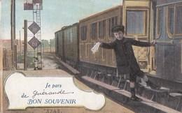 44 CPA Aqua PHOTO Couleur  BON SOUVENIR  Jeune Garçon  DEPART Du TRAIN De GUERANDE Au Revoir - Guérande