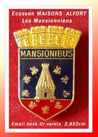 SUPER PIN'S VILLE MAISONS-ALFORT: Nom Historique Sur ECUSSON De MANSIONIBUS Visuels ABEILLES Et RUCHE, 2,8X2cm - Ciudades