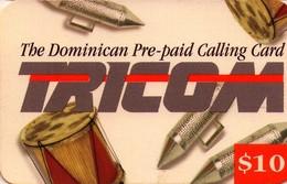 TARJETA TELEFONICA DE LA REPUBLICA DOMINICANA (PREPAGO). TRICOM, INSTRUMENTOS MUSICALES, DR-DMI01, $10. (751) - Dominicana