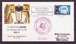 ESPACE - 1985/11 - Programme Ariane : 1ère érection D'Ariane Sur ELA 2 - CSG - 1 Document - FDC & Commemoratives