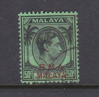 Malaya B.M.A  SG 14 1945 British Military Administration,50c Black -emerald And Scarlet - Malaya (British Military Administration)