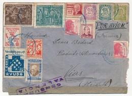 Enveloppe Affranchissement Composé + Vignettes Diverses Et Censure. 1938 - 1931-Today: 2nd Rep - ... Juan Carlos I
